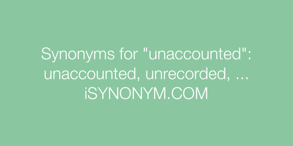 Synonyms unaccounted