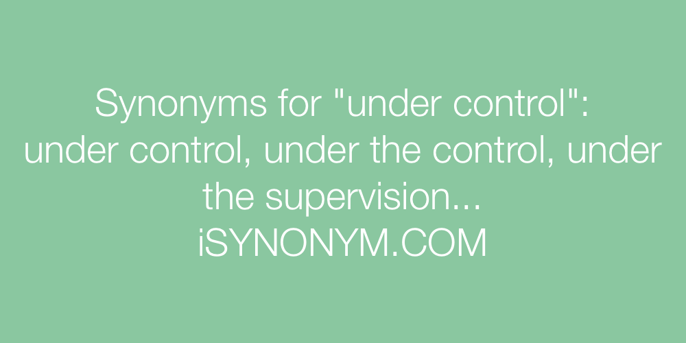 Synonyms under control