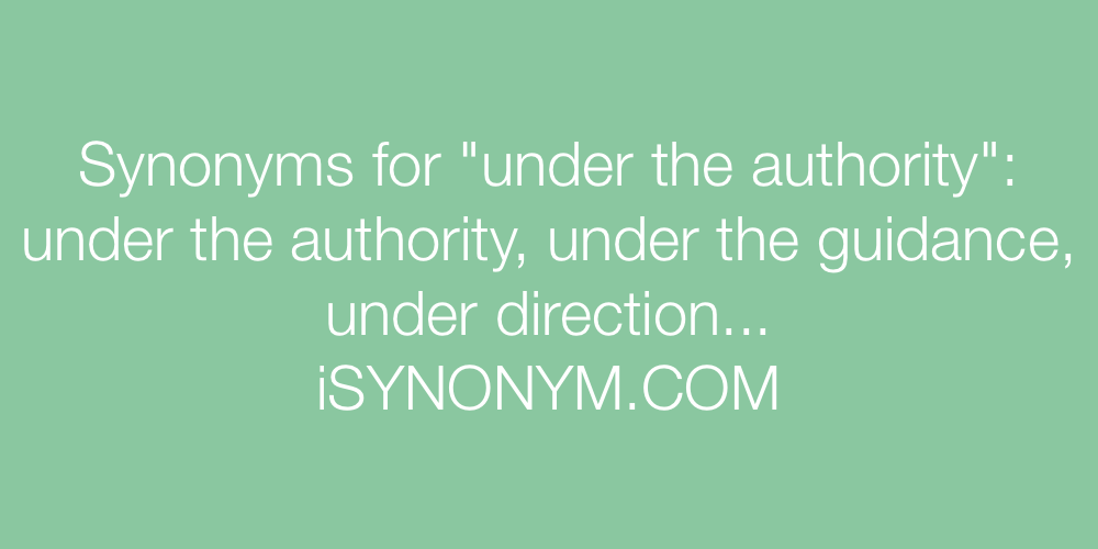 Synonyms under the authority
