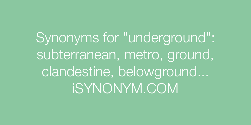 Synonyms underground
