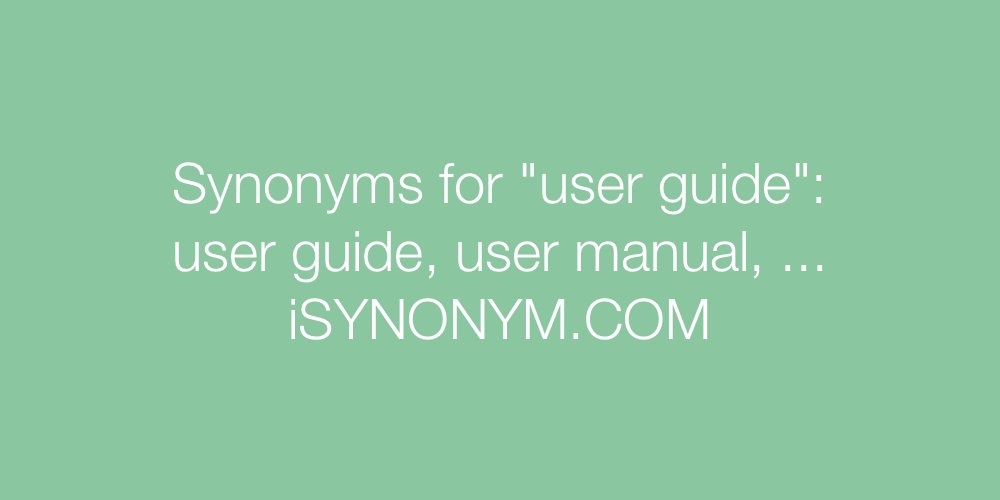 Synonyms user guide