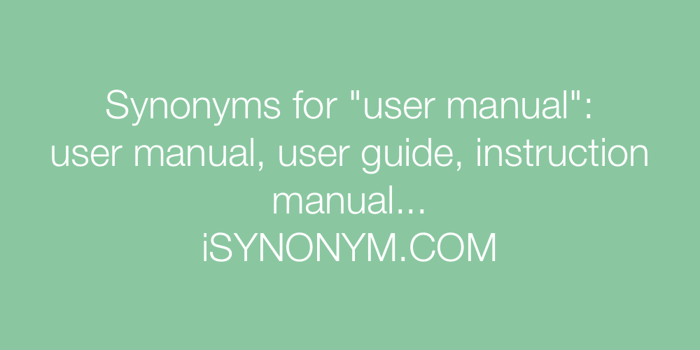 Synonyms user manual