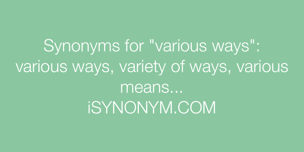 Synonyms various ways