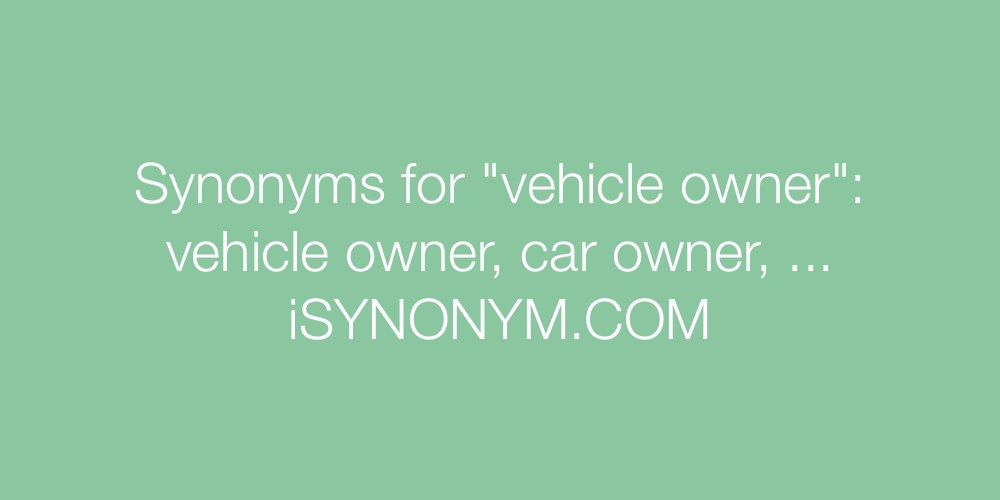 Synonyms vehicle owner