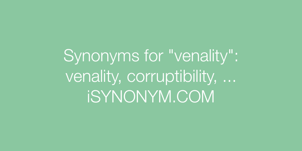 Synonyms venality