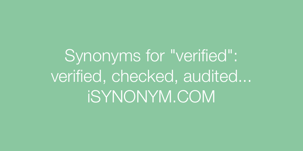 Synonyms verified