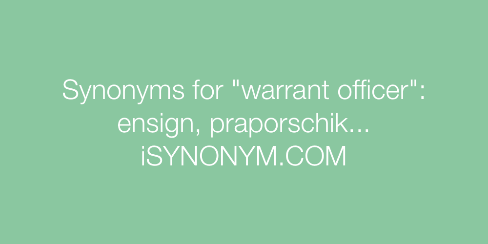 Synonyms warrant officer