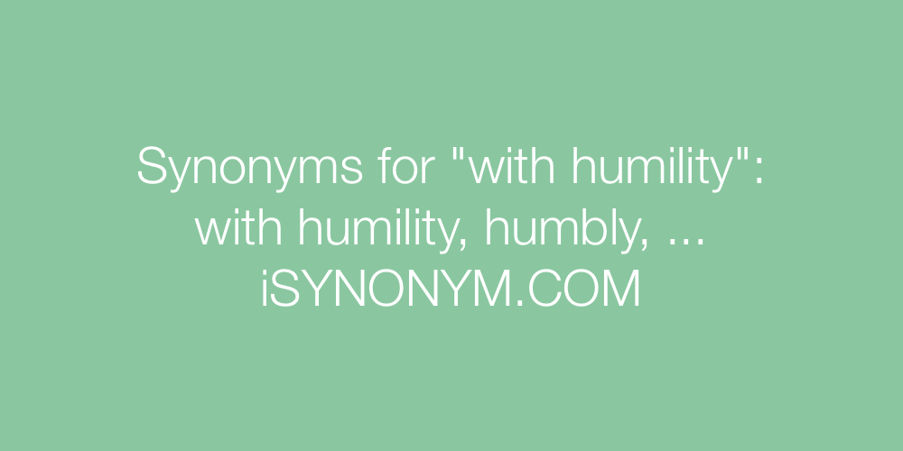 Synonyms with humility